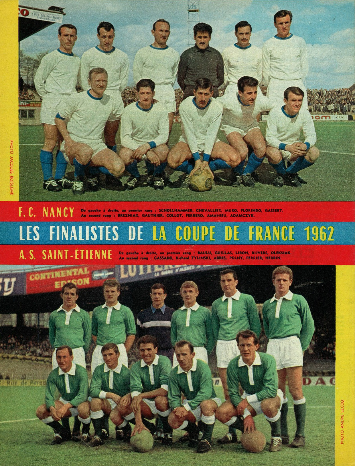 13 mai 1962 asse 1 0 nancy finale de la coupe de france - Match de coupe de france ...